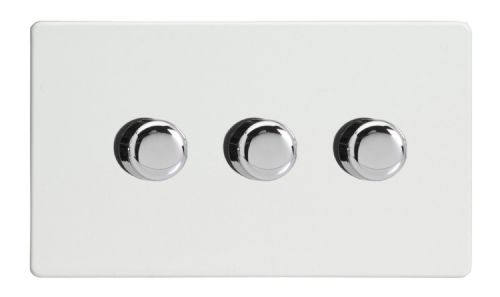 Varilight JDQDP303S Screwless Premium White 3 Gang 2-Way Push On/Off LED Dimmer 0-120W V-Pro